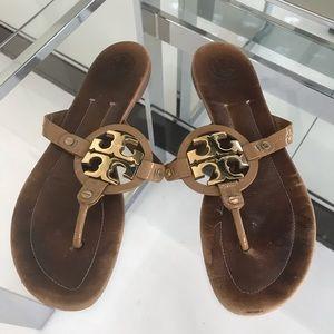 Tory Burch Metal Miller Flip Flop Sandal Size 10